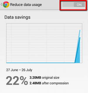 Chrome - Turn on Reduce data usage