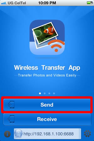 Transfer pictures from iPhone to PC through Wifi - Select Send