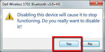 Disable Bluetooth warning message